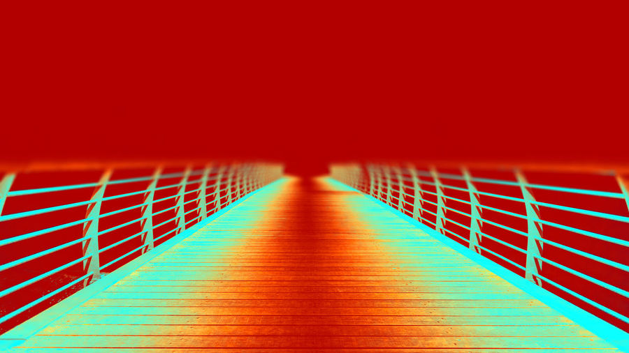 Futuristic Pier Railing Textured  The Creative - 2018 EyeEm Awards Walk Wood Abstract Architecture Backgrounds Blurred Motion Built Structure Copy Space Diminishing Perspective Direction Flooring Go-west-photography.com Illuminated Light - Natural Phenomenon Lighting Equipment Metal No People Railing Red The Way Forward Wall - Building Feature Way Forward