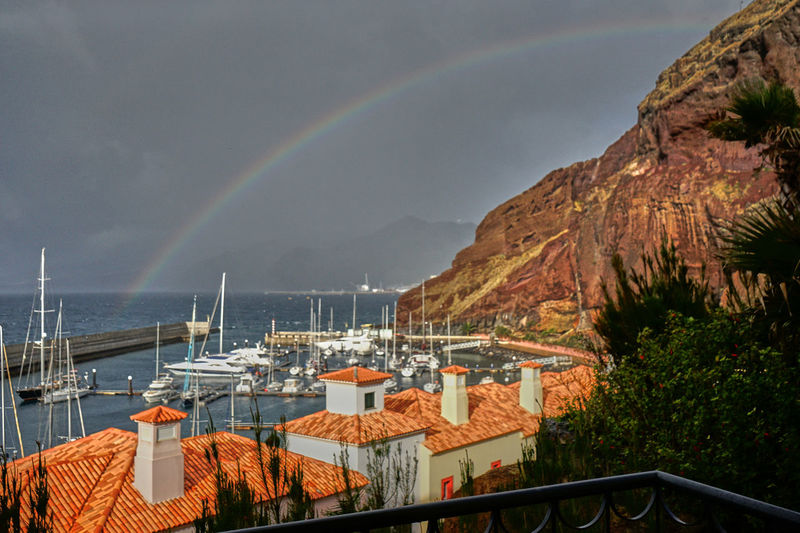 Hafen Landschaftsbilder Madeira Portugal Regenbogen SONY A7ii Architecture Beauty In Nature Building Exterior Day Double Rainbow Mountain Nature No People Outdoors Rainbow Scenics Sea Segelhafen Sky Water