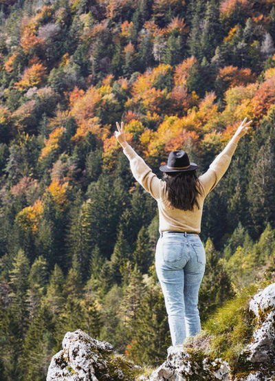 Rear view of woman with arms raised standing in valley surrounded by hills, mountains, autumn, fall.