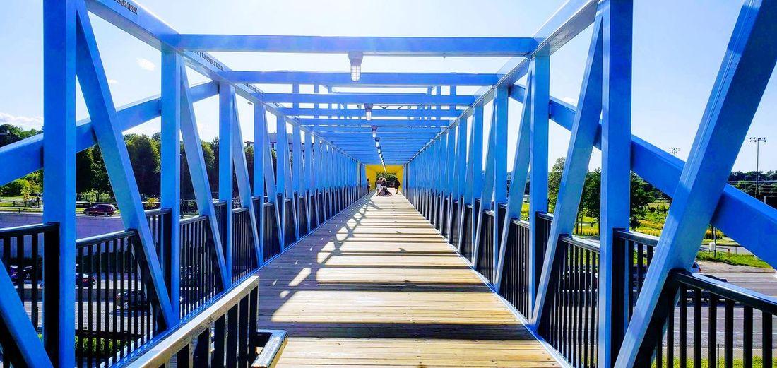 Rear view of footbridge on footpath