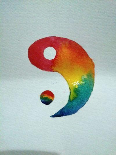 Art Watercolor Yin & Yang Rainbow