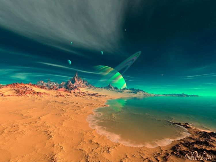 """ Beach on Planet Newerades "" created by me using Mojoworld Pro and my vast imagination! Science fiction Check This Out NEM SciFi Hello World Dailyphoto Eye Candy Pure Talent Mojoworld"