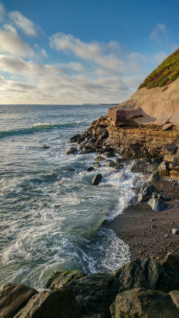 Ocean Beach San Diego Sunset Beach Beauty In Nature Cloud - Sky Day Horizon Horizon Over Water Land Motion Nature No People Outdoors Rock Rock - Object Rocky Coastline Scenics - Nature Sea Sky Solid Sport Water Wave
