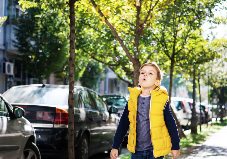 Boy standing by car against trees in city