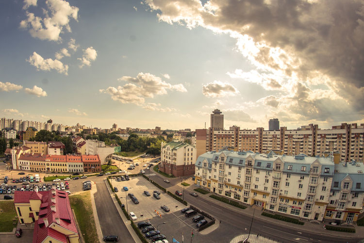 Belarus Minsk Tilt-shift Architecture Building Exterior Built Structure Car City Cityscape Cloud - Sky Day High Angle View Land Vehicle No People Outdoors Residential  Residential Building Road Sky Skyscraper Transportation