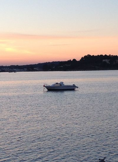 Lonely Poole Harbour Sunset Boat Travel Adventure