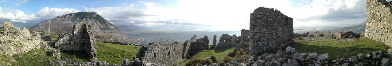 Panoramic view of old ruin against sky
