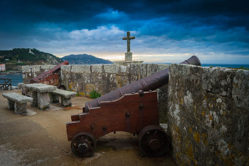 View from the fortress of Baiona Baiona Bayona Canon Christian Cross History History Place Leading Metal Old Old Buildings Pipe - Tube Ruined Rusty Sunset, Vintage