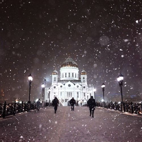 Cathedral Of Christ The Saviour Patriarchy Bridge Bridge Night Snow Cold Temperature Winter Architecture Built Structure Travel Travel Photography Architecture Russia россия Russia Moscow