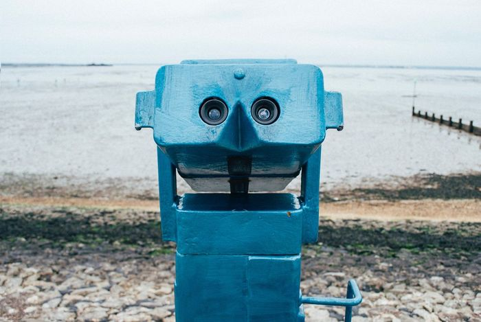 British Seaside Coin Operated Sea Coin-operated Binoculars Binoculars Beach Water Shore Day Sky Outdoors Horizon Over Water No People Sand Scenics Close-up Anthropomorphic Face Nature Beauty In Nature Culture Seaside United Kingdom Southend On Sea Travel British Grey