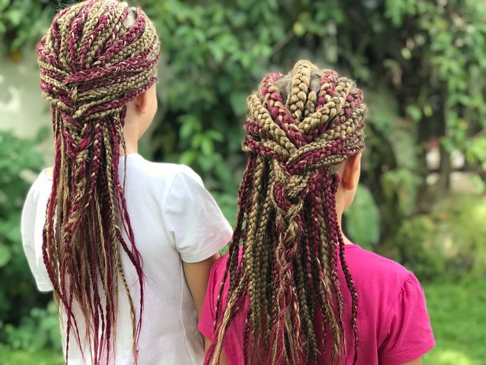 Rear View Of Girls With Dreadlocks At Park
