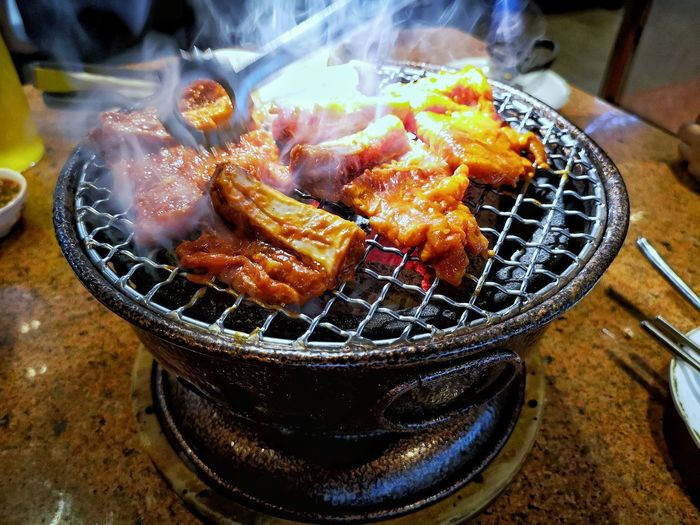 Pork Rib High Angle View Close-up Food And Drink Fire Firewood Heat Burning Coal Smoke Woodpile Flame Forestry Industry Candlelight