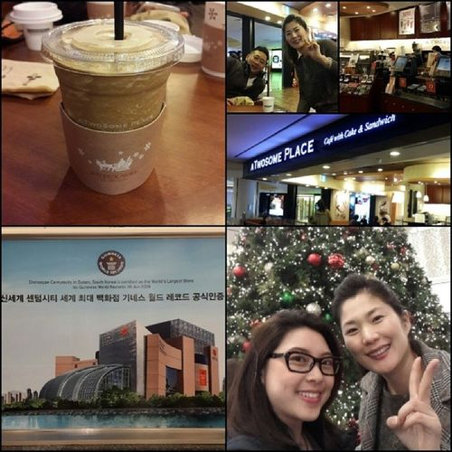 Finally...A Twosome Place Coffee Brand Korea Shisegae Centrum City world largest Department store Busan ??? with lovely sissy Park Ongju She's nice as always?