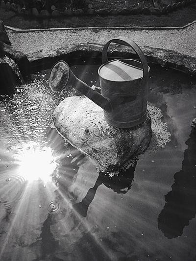 Watering Pot Gardening Garden Arrosoir Jardinage Jardin Black And White Lensflare Lens Flare