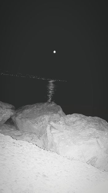First Eyeem Photo Sea And Sky Sea Moon Reflection Crikvenica Croatia Beach Beach At Night Tranquility Stones