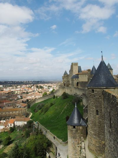 France Carcassonne Castle Viewpoint Europe Holiday Medieval