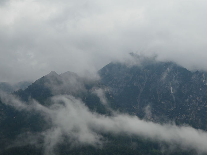 Cloudy mountains on rainy day