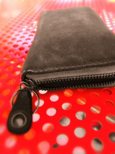 Wallet Leather Zipper Holes Red Read Table Closeup Huawei P9. NewToEyeEm Close-up No People