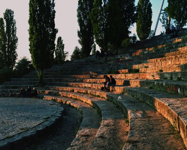 Catching rays of light at Mauerpark, Berlin, May 2017 Ancient Ancient Civilization Architecture Berlin Building Exterior Day Friends Growth History Mauerpark Nature Old Ruin Outdoors People Sitting Summernight Sunset Tree