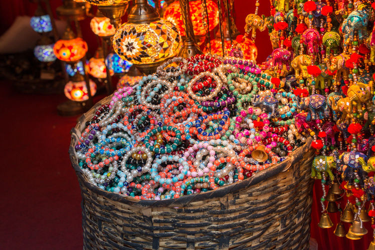 High angle view of bracelets for sale in store