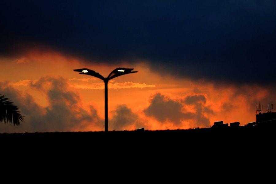 Silhouette Sky Cloud - Sky Sunset Street Light Orange Color Street