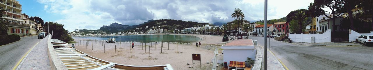 Panorama / Port de Soller Beach Panorama View Architecture Panoramic Sky Built Structure Building Exterior Water Cloud - Sky Transportation Mode Of Transportation Day Outdoors Street Travel Building Tree Plant Nature City Incidental People