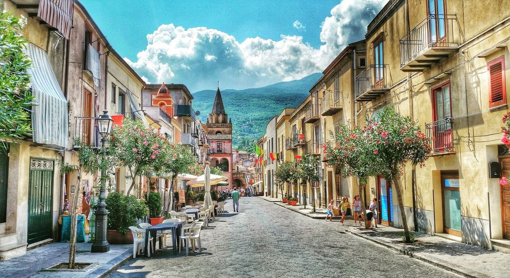 Sky Architecture Building Exterior Built Structure Street Tree City Travel Destinations Cloud - Sky Outdoors Day Italy Sicily Siciliabedda Trapani Castelbuono Cityscape HDR Follow4follow Followforfollow