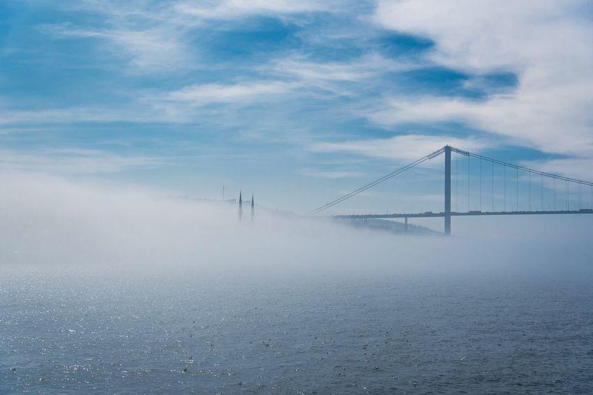 Bosporus bridge in fog Bosphorus Bridge Bosphorus Istanbul Fog Sky Weather Cloud - Sky Connection No People Outdoors Suspension Bridge Beauty In Nature