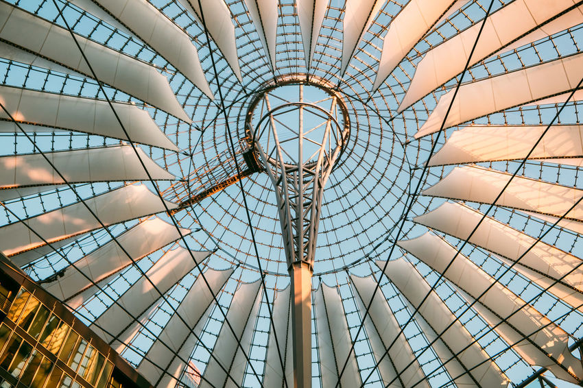 Sony Center Sony Center Berlin Architectural Feature Architecture Built Structure Ceiling Circle Cupola Day Design Directly Below Dome Full Frame Geometric Shape Glass - Material Indoors  Low Angle View Metal Modern No People Pattern Potsdamer Platz Shape