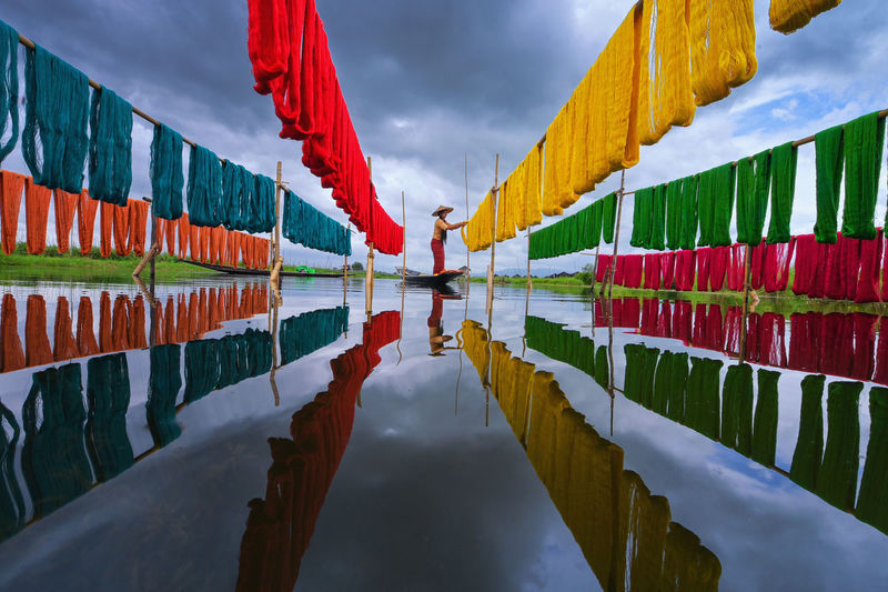 These inle handcrafted lotus fabrics are made using natural dyes at inle lake, myanmar