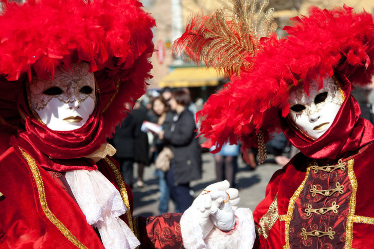 Men Wearing Venetian Mask During Carnival