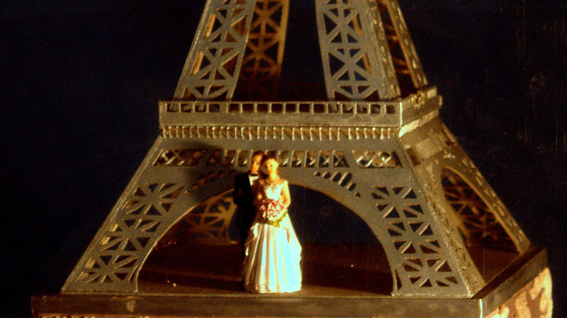 Eiffel Tower cake EyeEm Selects Nightshot Cake Cake♥ Cake Art EyeEm Eiffel Tower Architecture Low Angle View Statue No People Built Structure Sculpture Indoors  Food Stories