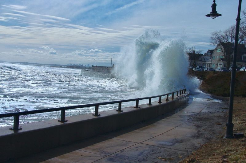 The ocean is still angry. Motion Force Breaking Power In Nature Sea Hitting Water