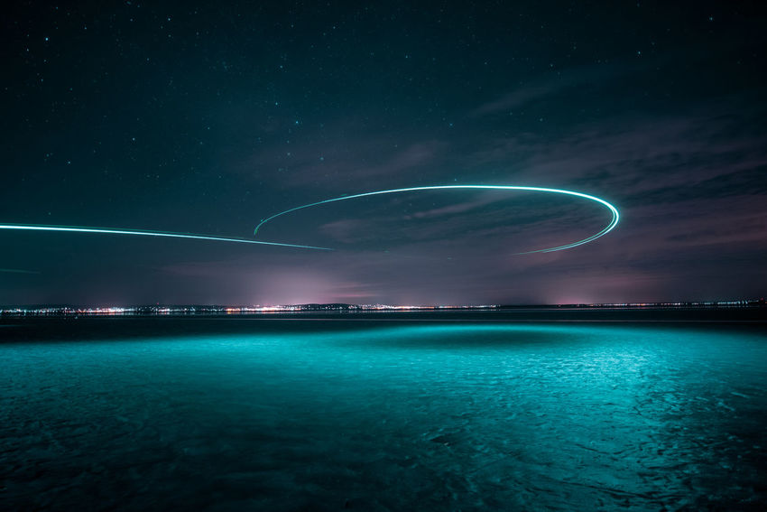 Drone  Light Lights Nightphotography Astronomy Beauty In Nature Cloud - Sky Galaxy Illuminated Long Exposure Motion Nature Night Night Sky No People Outdoors Scenics - Nature Sea Sky Space Star - Space Tranquil Scene Water Waterfront