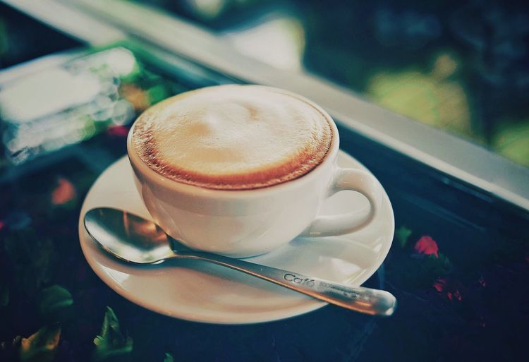 Coffee - Drinks.. Close-up Focus On Foreground Indoors  Eating Utensil Food Kitchen Utensil Hot Drink Saucer Table Spoon Still Life Crockery Coffee Cup Mug Food And Drink Coffee - Drink Cup Refreshment Coffee Drink Frothy Drink No People Non-alcoholic Beverage Latte Froth Temptation Teaspoon