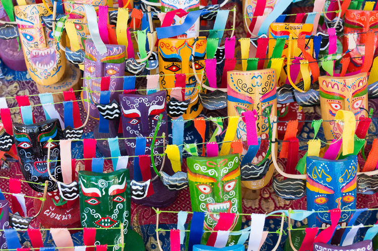 Ghost Mask in Northeast Thailand Ghost Thailand Tradition Abundance Art Backgrounds Choice Close Up Collection Colorful Culture Display Endemic For Sale Full Frame Hanging Large Group Of Objects Market Mask Multi Colored Northeast Outdoors Retail  Text Variation