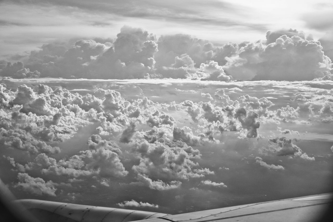 cloud - sky, cloudscape, sky, nature, beauty in nature, scenics, tranquility, majestic, tranquil scene, airplane, no people, sky only, day, outdoors, transportation, aerial view, sea, water, flying, airplane wing