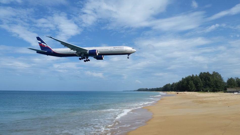 Landing at Phuket Landing At Phuk Mai Khao Beach Phuket Naiyang Beach Phuket Phuket,Thailand TG Landi Airplane Beach Day Outdoors Phuket Airport Plane Sea Sky