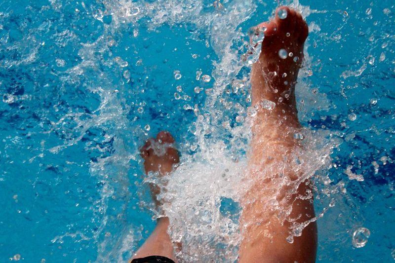Legs Splashing In Pool
