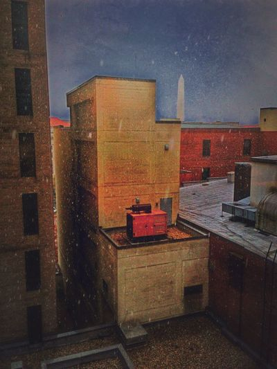 A touch of snow in this back alley office. Dingy view. Light Snow Snow Washington DC Washington Monument