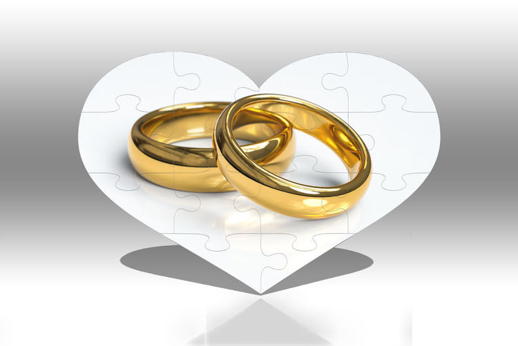 Gold Colored Love Wedding Wedding Ring Positive Emotion Gold Ring Indoors  Emotion Jewelry Event Heart Shape No People Celebration Still Life Close-up Life Events Two Objects Studio Shot Reflection Wedding Rings Puzzle  Love Puzzles Love ♥