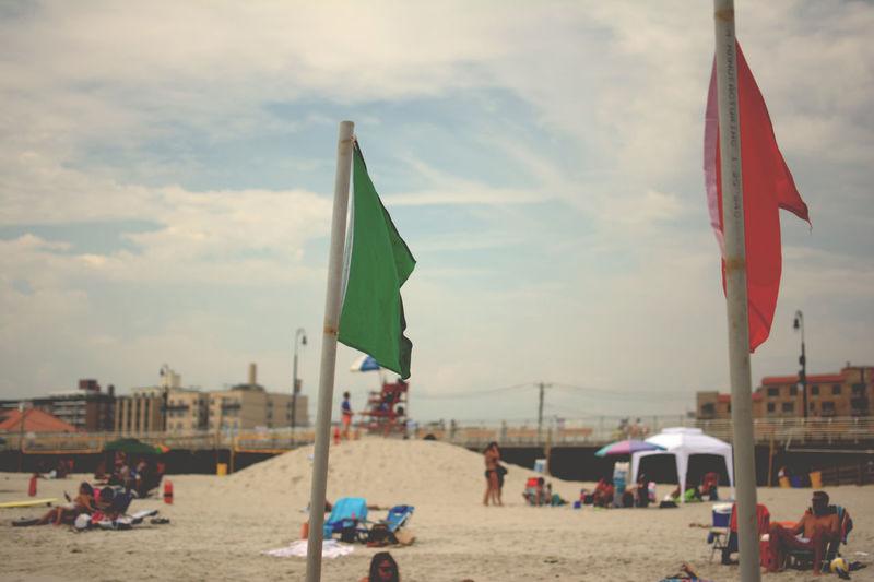 Long Island, Long Beach Beach Cloud - Sky Day Flag Focus On Foreground Outdoors Sand Sky