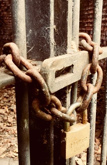No entry Metalwork No Admittance Closed Gate Cobweb Metal Chain No People Security Close-up Safety Day Lock Rusty Old Padlock Sunlight Gate Strength Detail