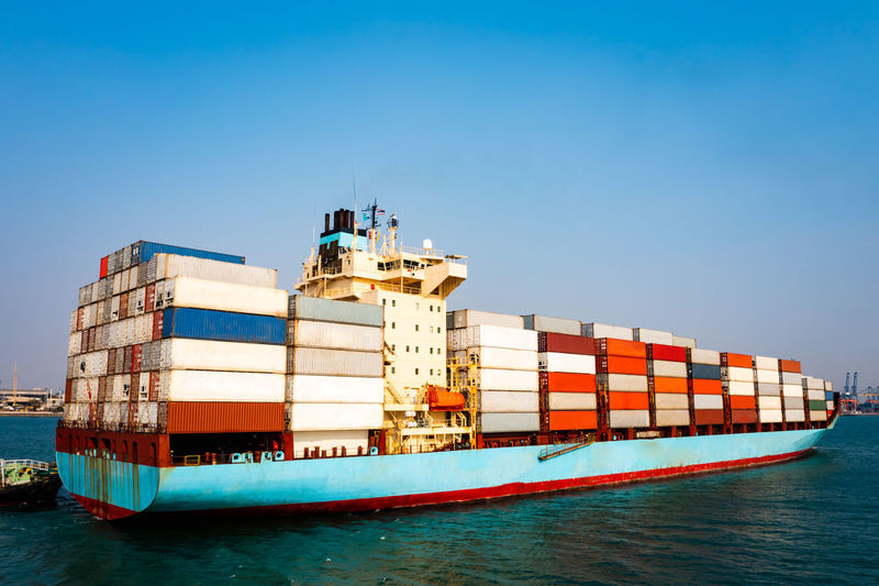 Big container cargo ship in import export business service commercial trade logistic