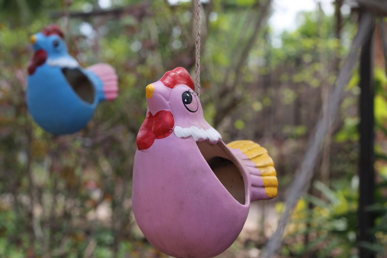 representation, focus on foreground, art and craft, toy, creativity, no people, bird, close-up, humor, day, human representation, hanging, craft, tree, nature, vertebrate, duck