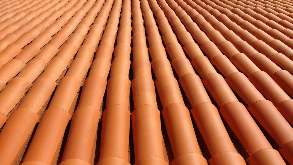 Architecture Backgrounds Building Canary Islands Orange Overlapping Roof Roof Tile Spanish Architecture Tiles ın A Row