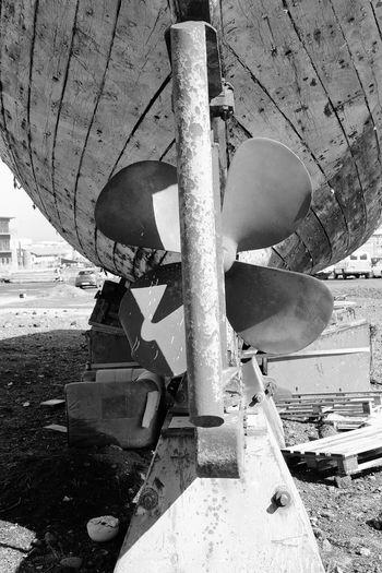 Ship Yard Abandoned B & W  Damaged Fishing Boat Iceland Nautical Vessel Propellor Rudder Ship Transportation