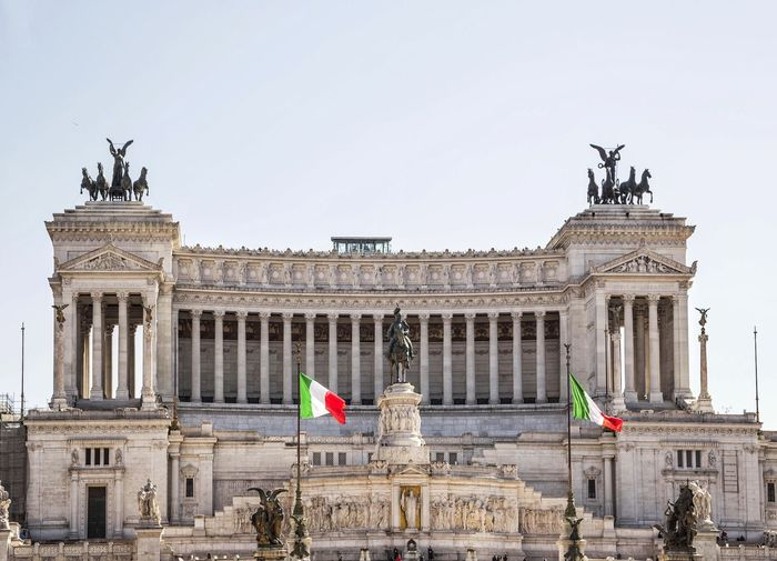 Facade Of Altare Della Patria Against Clear Sky