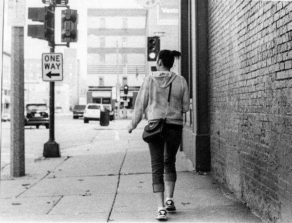 Walking Away Series - Downtown Street Day Young Adult Outdoors Full Length Film Filmcamera Film Photography Illfordhp5 Film Camera Filmisnotdead Ieica_r7 Taking Photos Hanging Out Real People Leisure Activity B&w Street Photography Black & White Women The Street Photographer - 2017 EyeEm Awards