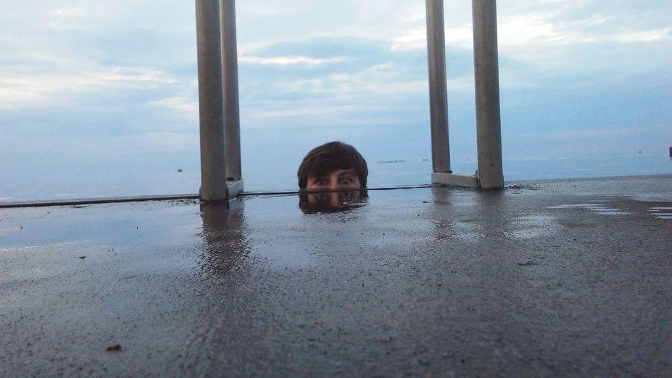 Water Reflection Cloud - Sky Sky Day Sea Outdoors Nature Boy Eyes Ladder Blue Person Teenage Boy The Week On EyeEm EyeEmNewHere